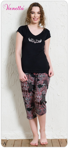 Комплект жен. Vienetta 4260 (футболка+капри)
