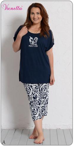 Комплект жен. Vienetta 4940 (футболка+капри) МАКСИ