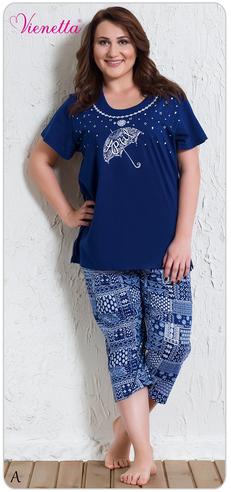 Комплект жен. Vienetta 5620 (футболка+капри) МАКСИ