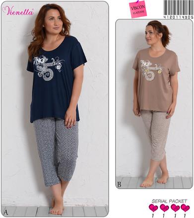 Пижама жен. Vienetta 4905/17 (футболка+капри)